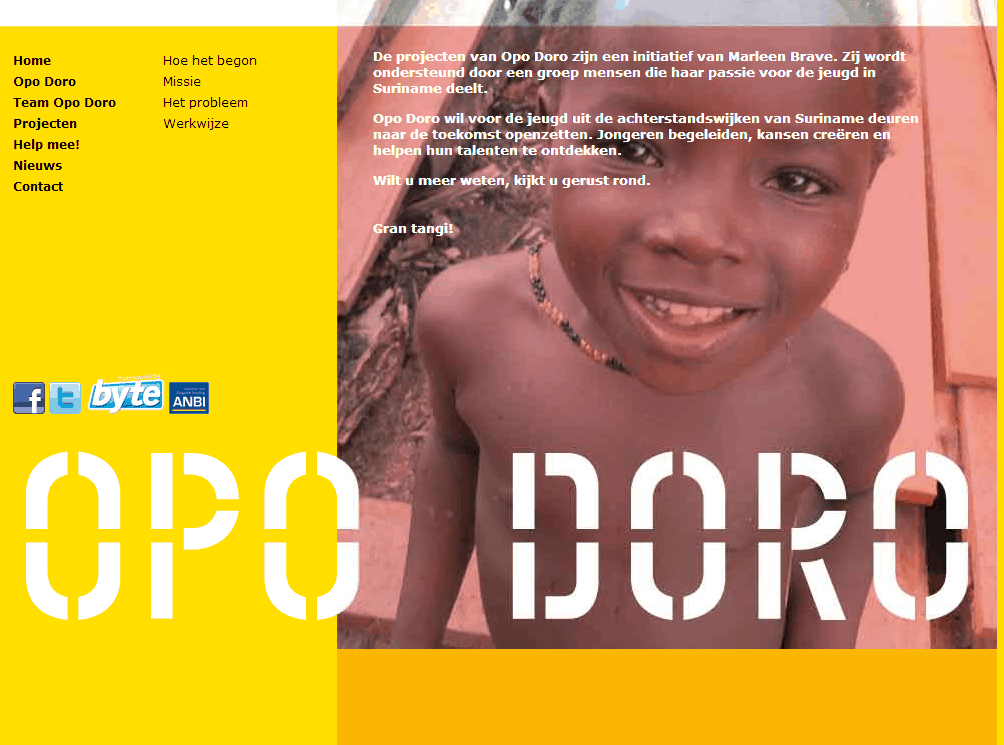 Screenshot website informatie Opo Doro.