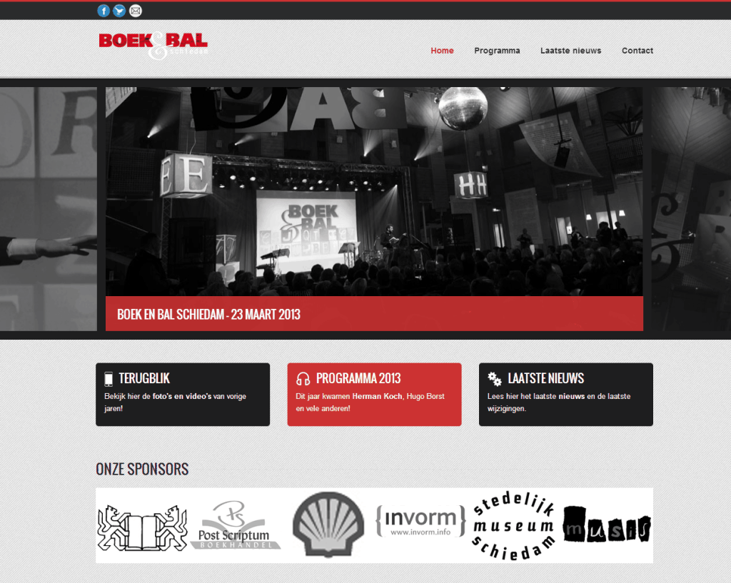 Website screenshot Boek en Bal Schiedam.