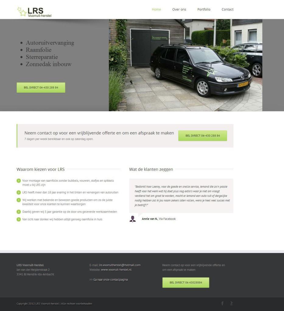 Website screenshot LRS Voorruit-herstel.
