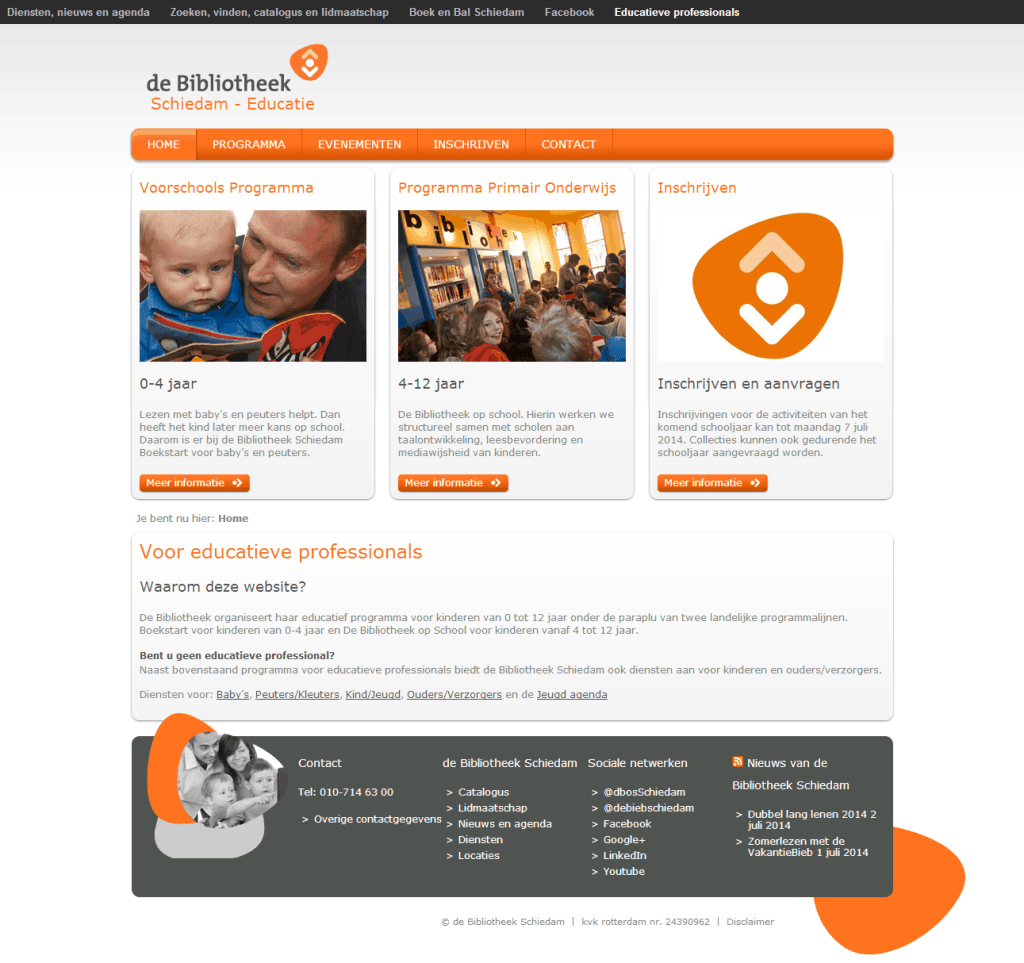 Website screenshot de Bibliotheek Schiedam - Educatie.