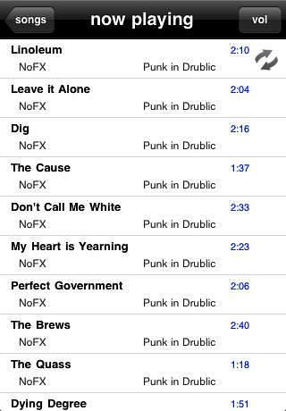 Screenshot van een playlist op een iPad.