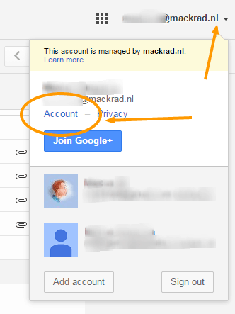 Screenshot Google Account en gmail settings.