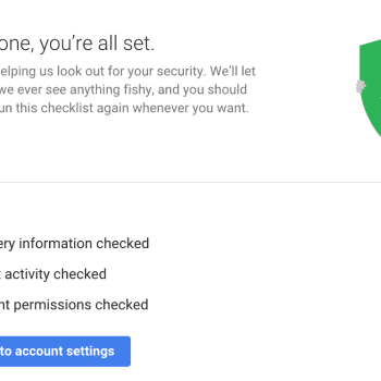 Screenshot all set Google security checkup.