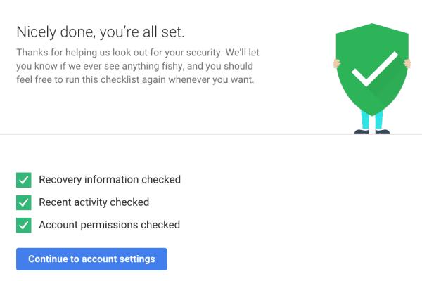 Screenshot all set Google security checkup.