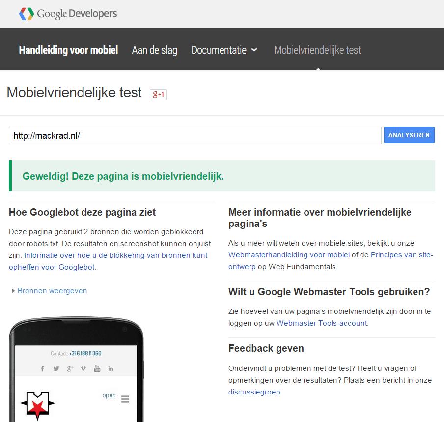 Screenshot van Mobielvriendelijke test van Google.
