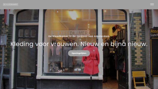 Startpagina van de website DeKleedkamer.com.