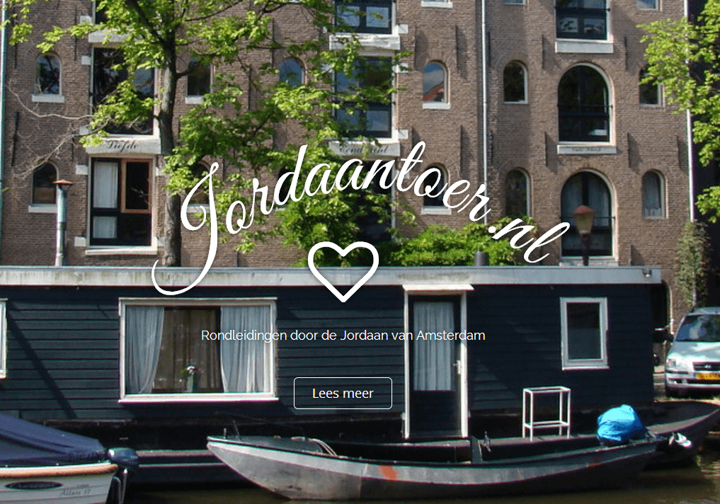 Screenshot website Jordaantoer.nl.