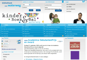 Screenshot website Bibliotheek Waterweg Schiedam.