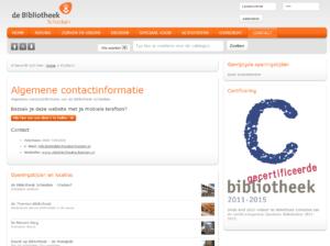Screenshot website contactgegevens de Bibliotheek Schiedam.