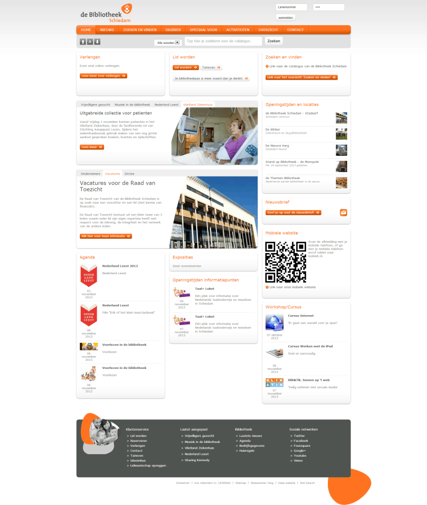 Screenshot website de Bibliotheek Schiedam.