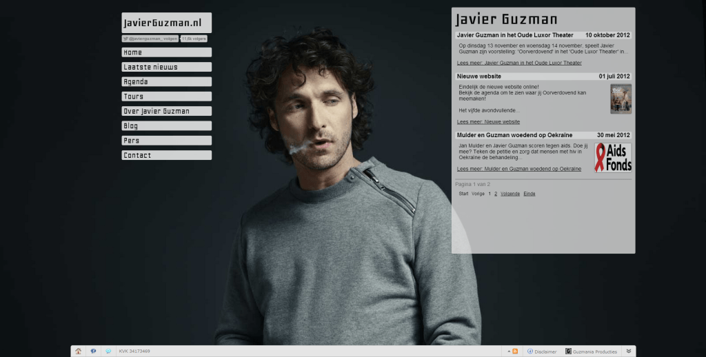Screenshot website nieuws Javier Guzman - Javierguzman.nl.