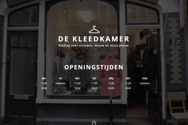 Website screenshot van De Kleedkamer. DeKleedkamer.com