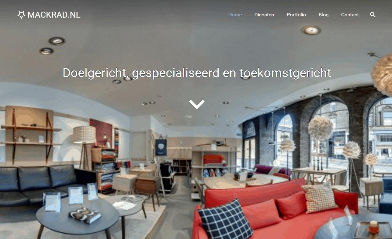 Screenshot van de nieuwe website van Mackrad.nl.