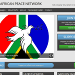 Website screenshot South African Peace Network.