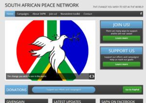 Website screenshot South African Peace Network.