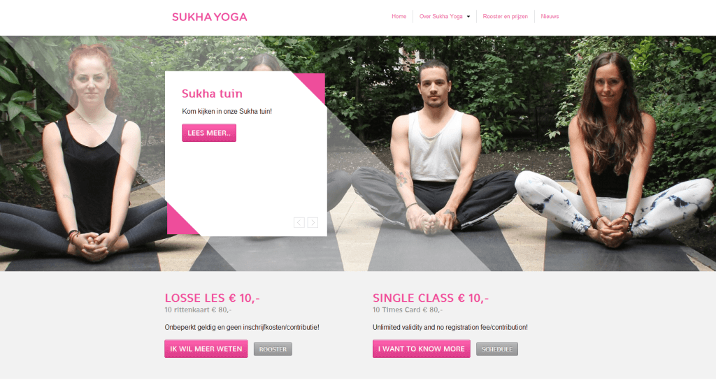 Website screenshot Startpagina Sukhayoga.nl.