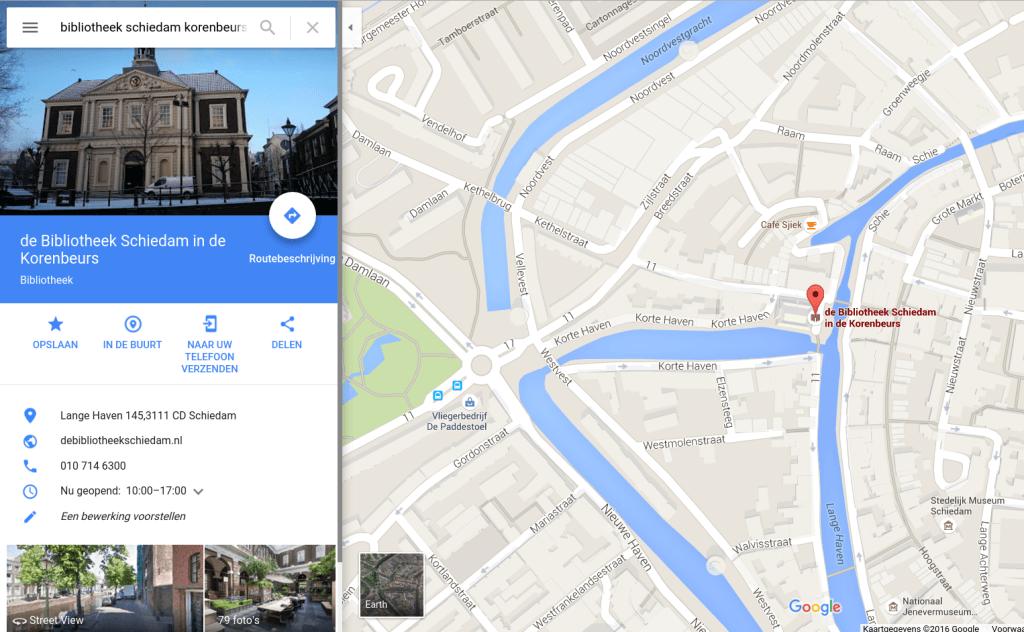 Screenshot de Bibliotheek Schiedam Mijn Bedrijf op Google Maps.