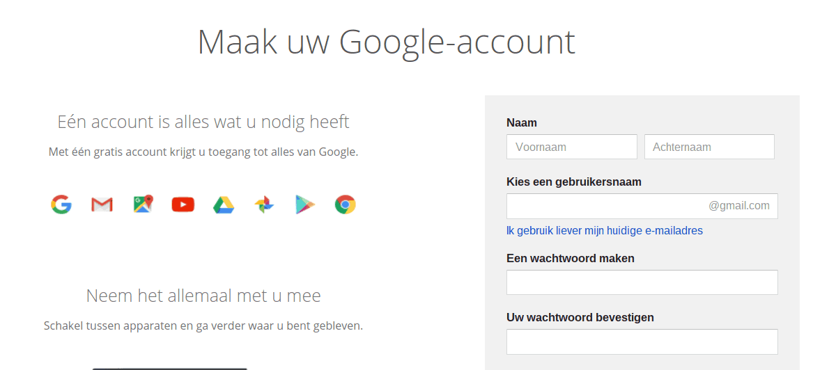 Screenshot Google Account aanmaken.