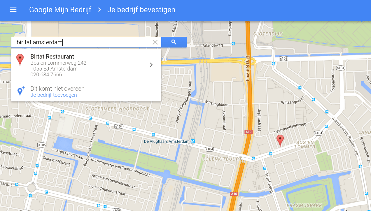 Screenshot Google Mijn Bedrijf aanmaken.