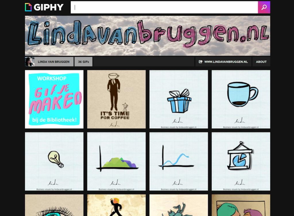 Screenshot gifanimaties van Linda van Bruggen op Giphy