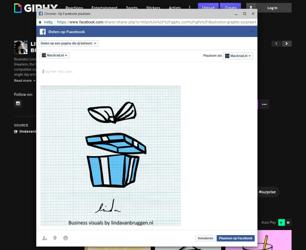 Screenshot gif animatie delen op Facebook popup