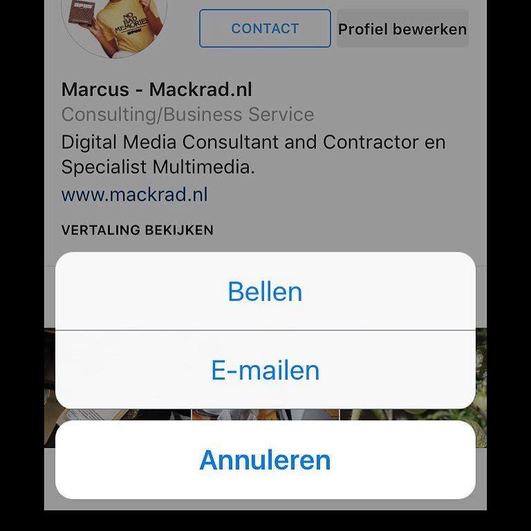 Instagram contactgegevens