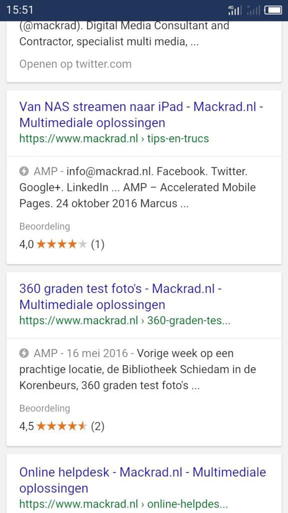 Screenshot zoekresultaten met AMP