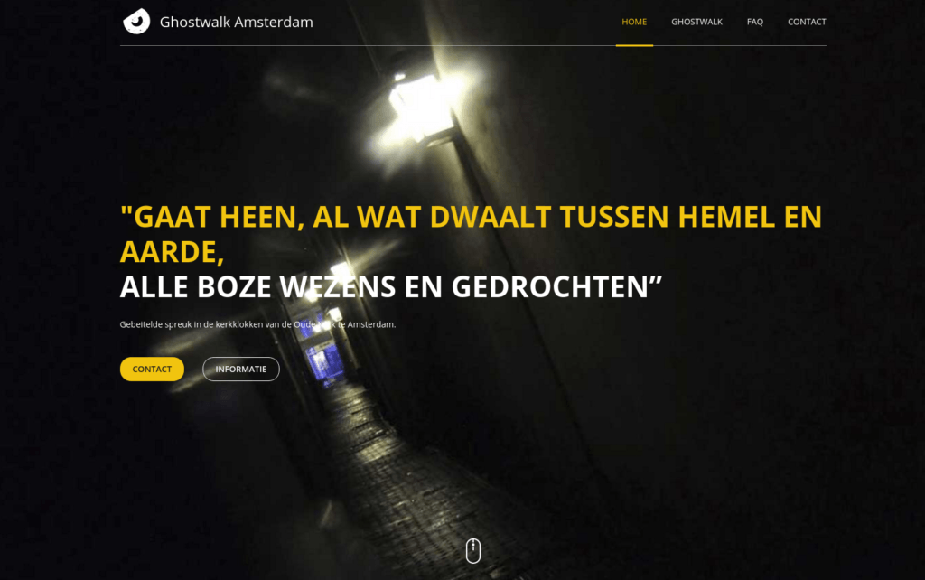 Screenshot website Ghostwalk Amsterdam - Startpagina