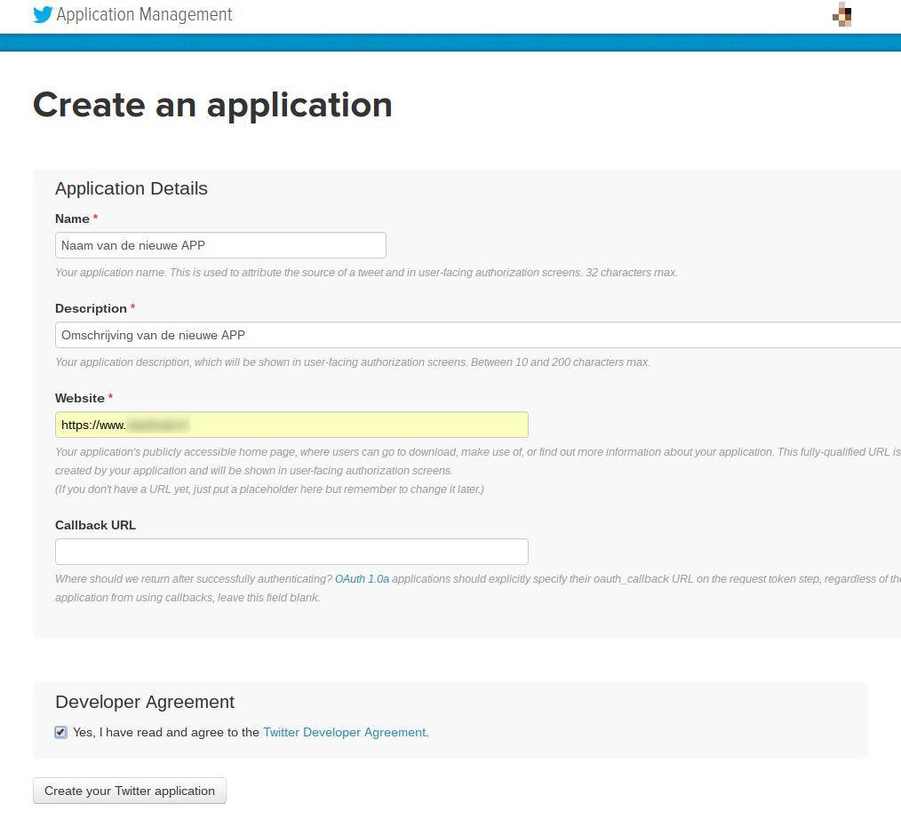 Screenshot stap 2 voor je Twitter autorisatie code