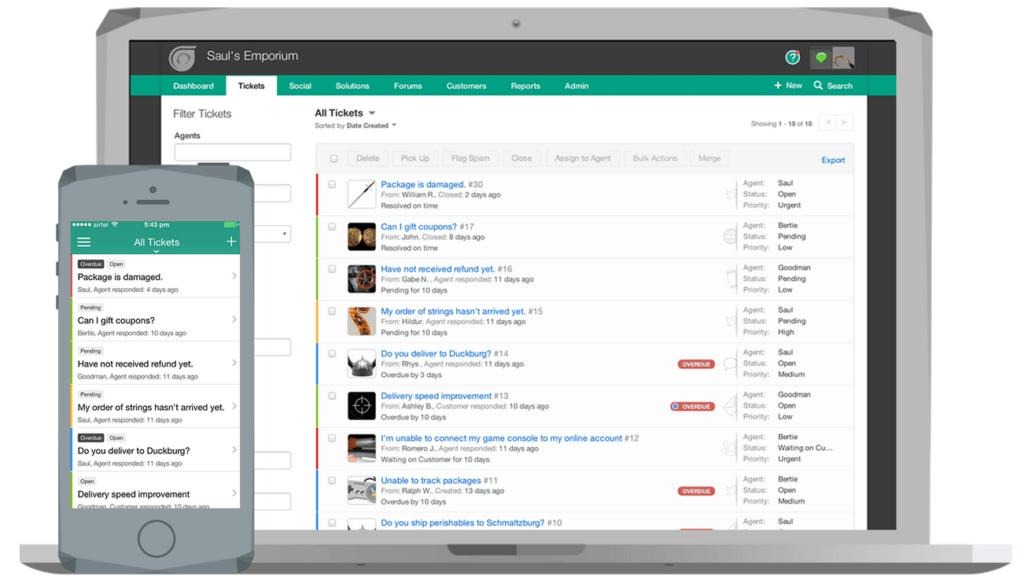 Afbeelding van Freshdesk, helpdesk en ticketsysteem, op een desktop en smartphone