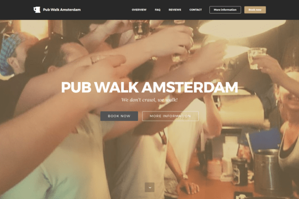 Screenshot website Pub Walk Amsterdam.