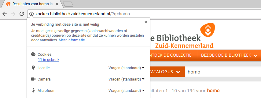 Screenshot onveilige bibliotheek website