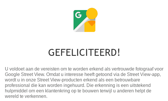 Screenshot - Gefeliciteerd u bent nu een Google Street View Trusted fotograaf.