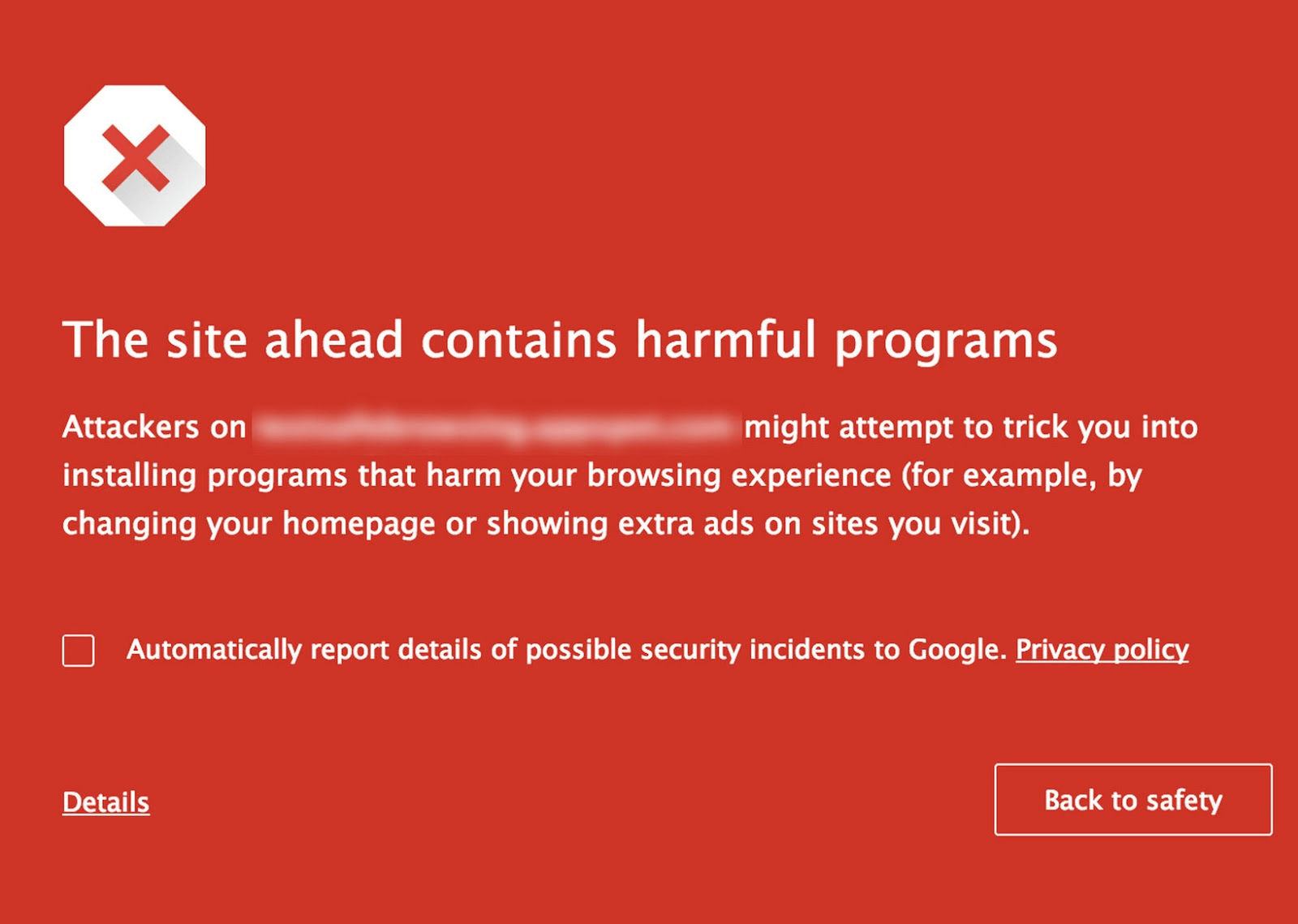 Screenshot Google Safe Browsing website waarschuwing.
