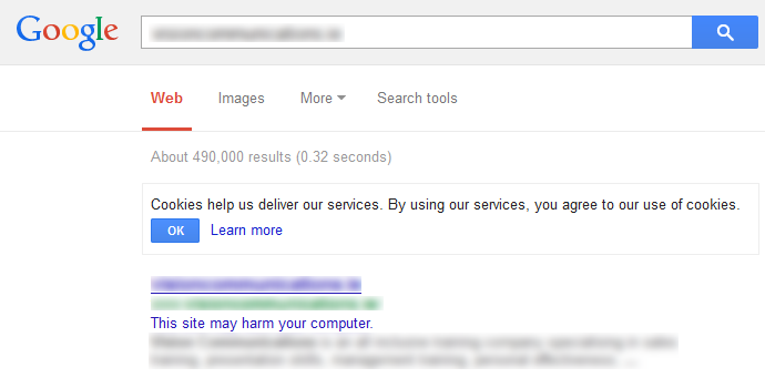 Screenshot Google Safe Browsing zoekresultaten waarschuwing.