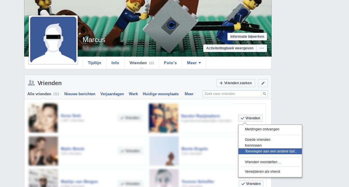 Facebook privacy intstellingen 3 - Vrienden en lijsten.