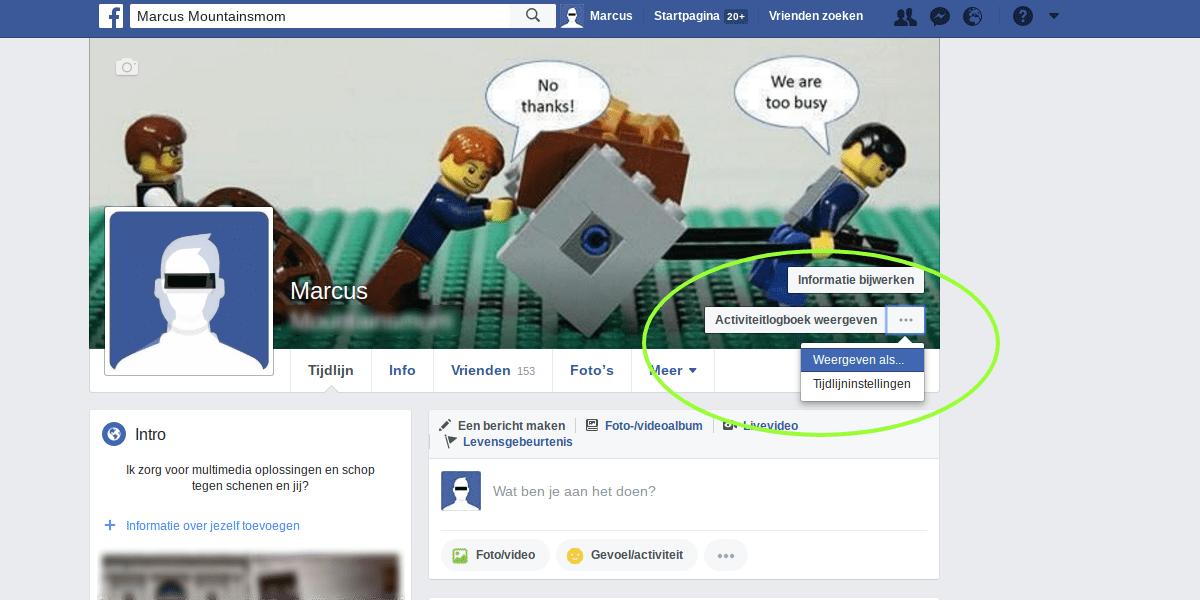 Facebook privacy instellingen - Weergeven als