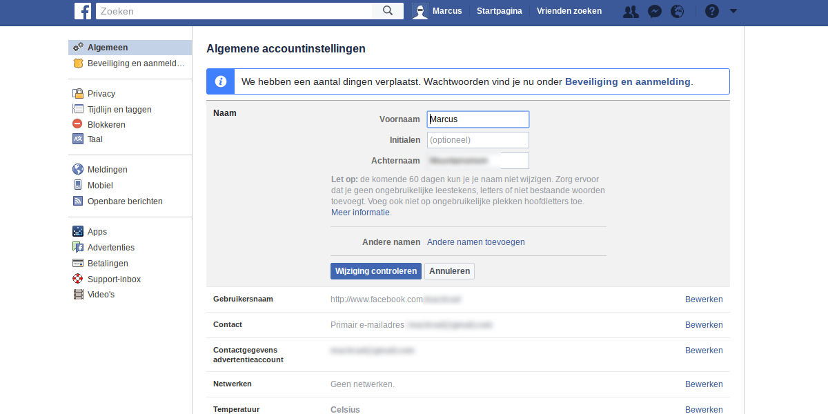 Facebook privacy intstellingen 1 - algemene account instellingen