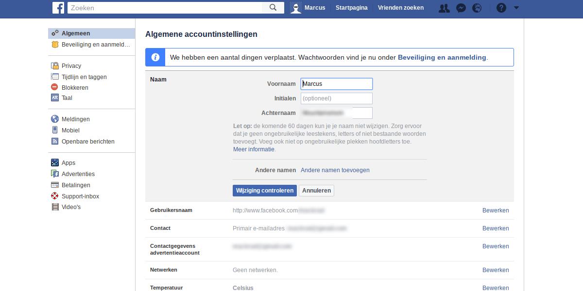 Facebook privacy intstellingen 1 - algemene account instellingen