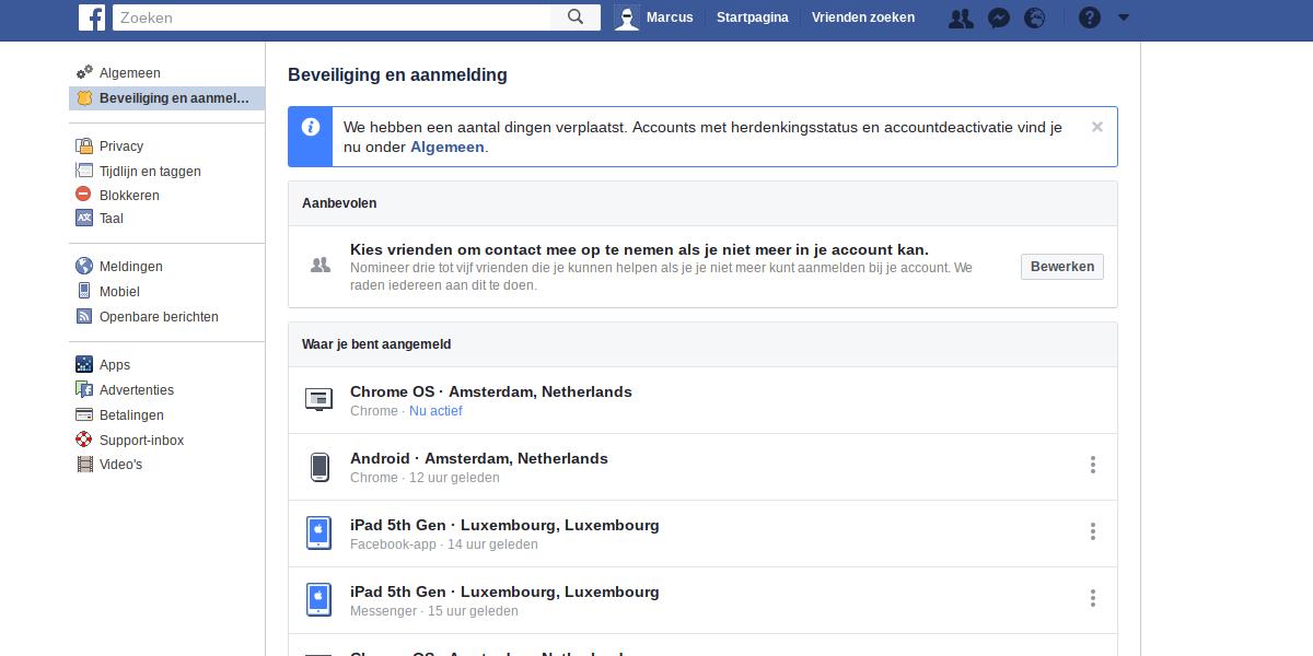 Facebook privacy intstellingen 2 - Beveiliging en aanmelden.