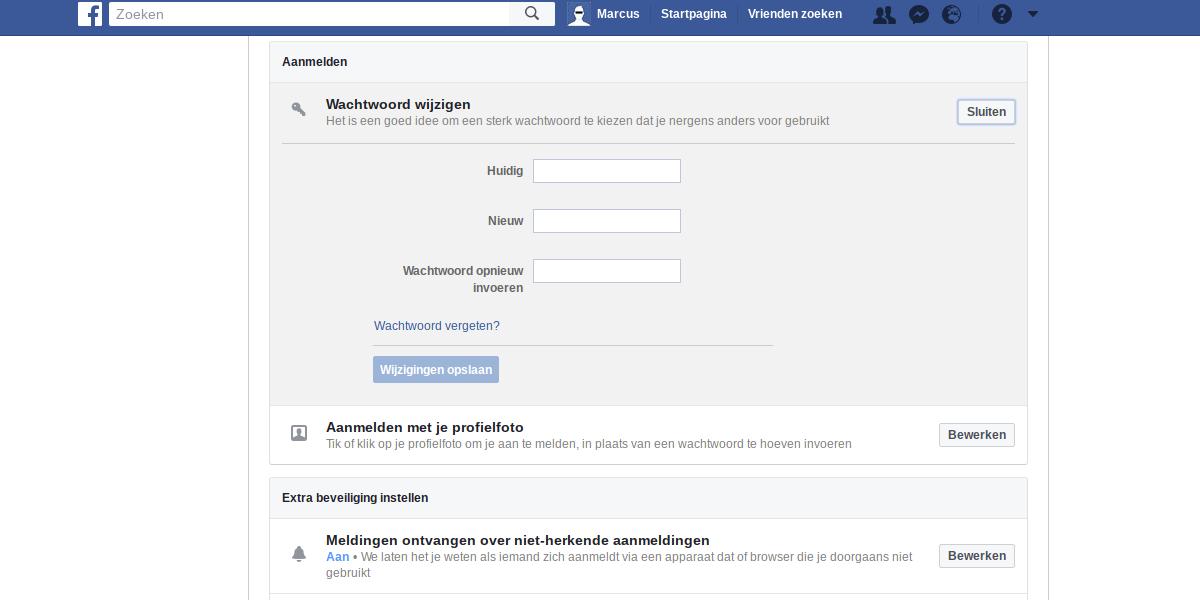 Facebook privacy intstellingen 2 - Wachtwoord wijzigen.