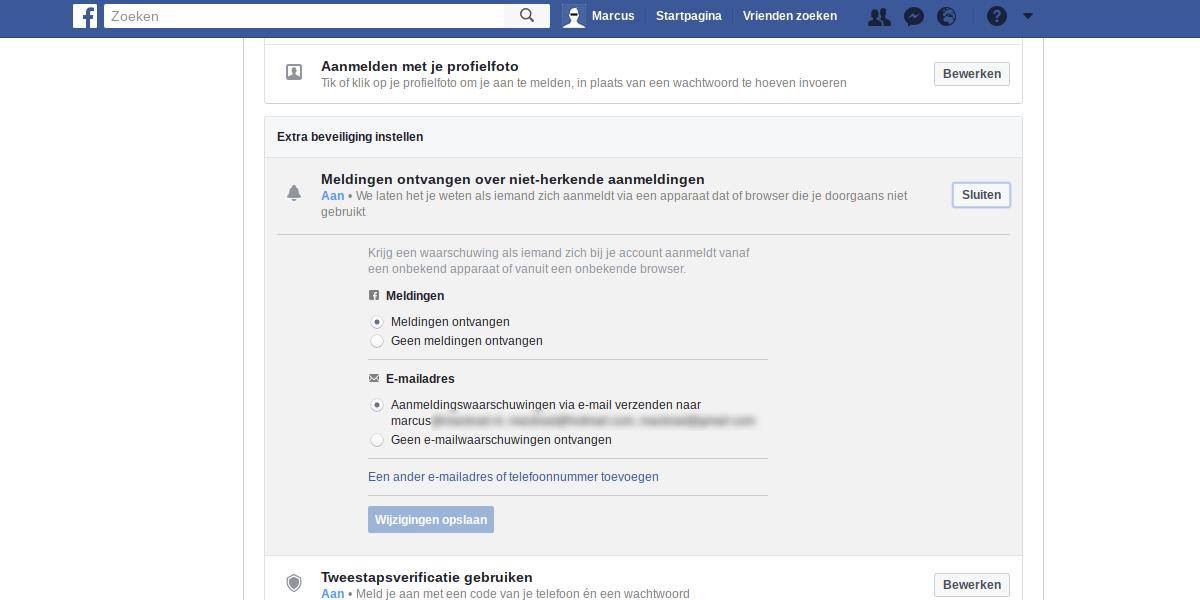 Facebook privacy intstellingen 2 - Aanmeld waarschuwing.