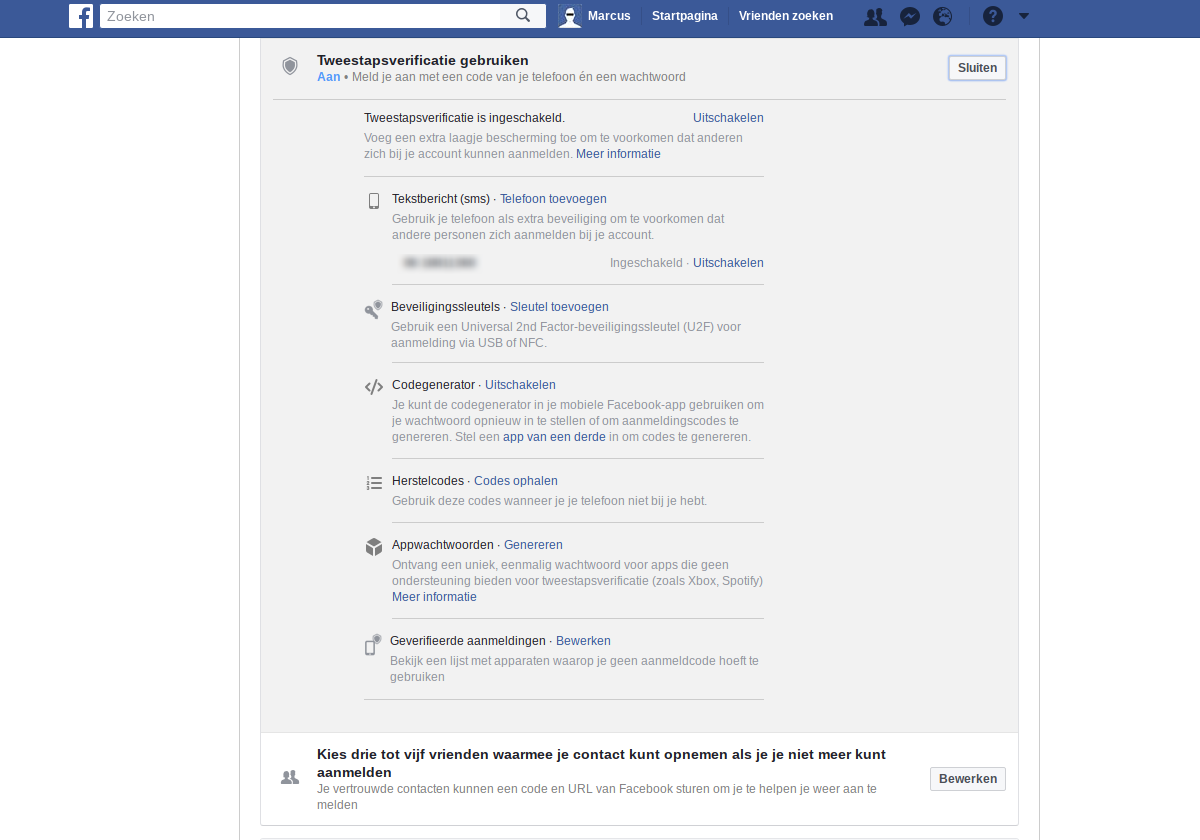 Facebook privacy intstellingen 2 - 2FA Tweestapsverificatie.