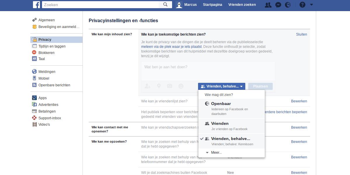 Facebook privacy intstellingen 3 - Wie kan je toekomstige berichten zien