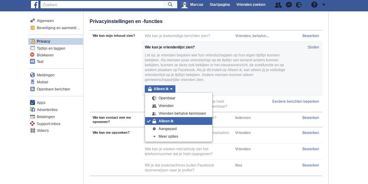 Facebook privacy intstellingen 3 - Alleen ik.