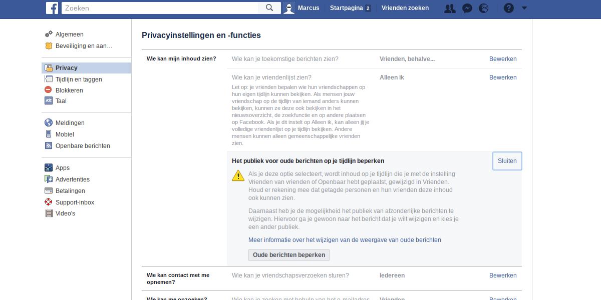 Facebook privacy intstellingen 3 - Het publiek voor oude berichten op je tijdlijn beperken.