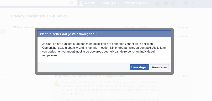 Facebook privacy intstellingen 3 - Popup bevestigen.