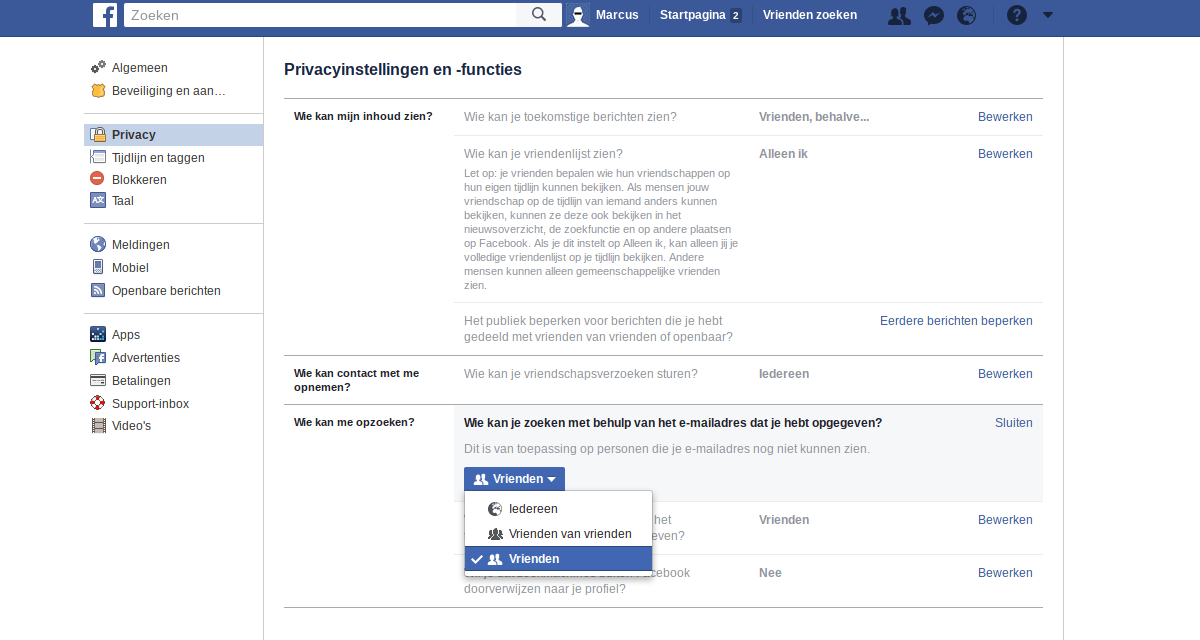 Facebook privacy intstellingen 3 - Contact en opzoeken.