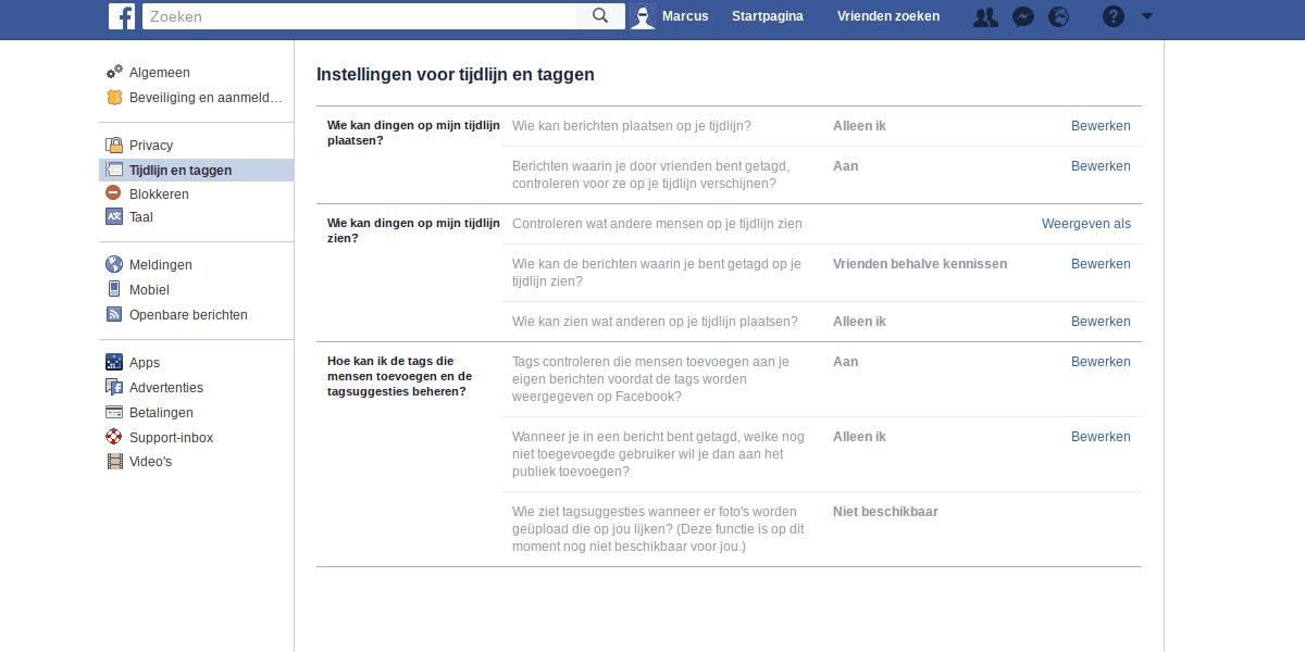 Facebook privacy instellingen - tijdlijn en taggen