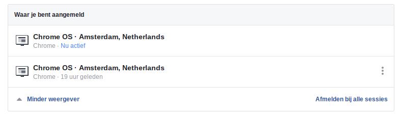 Facebook privacy intstellingen 2 - Waar aangemeld.
